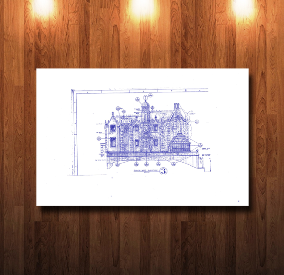 Walt Disney World Haunted Mansion Southwest Elevation Blueprint - 0214