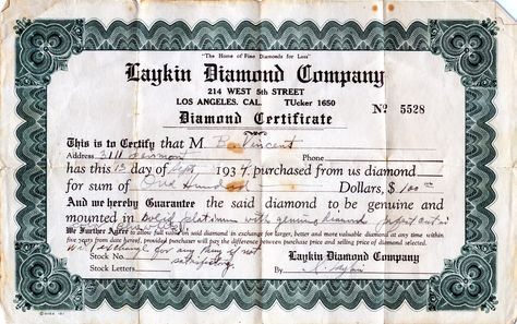 Receipt dated 13-September-1934 for a diamond ring from the Laykin Diamond Co., (predecessor to Laykin et Cie.) signed by I. Laykin.