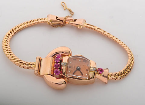 Rose Gold 1940's retro ladies watch with rubies and diamonds