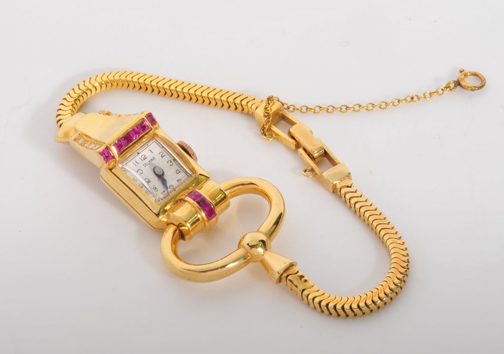Vintage yellow gold and ruby watch circa 1940's
