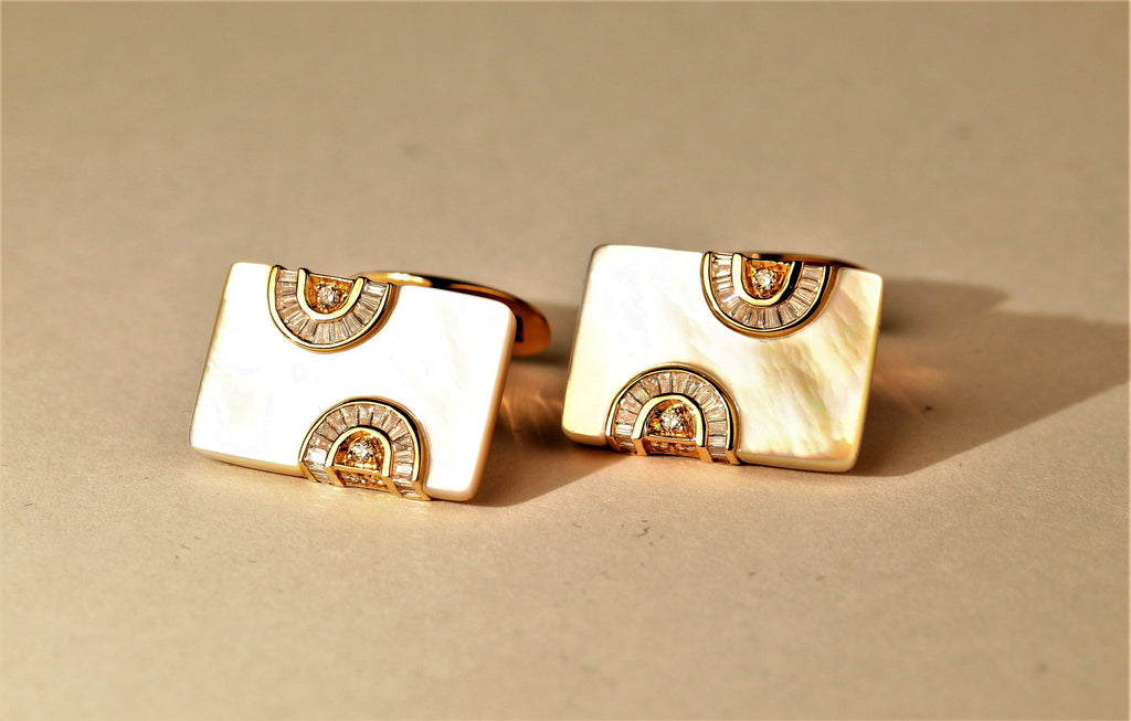 Mother of Pearl and Diamond Art Deco Cuff Links