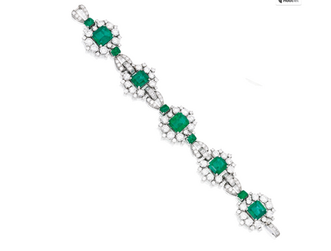 Platinum, Emerald and Diamond Bracelet