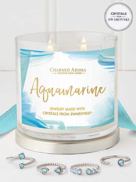 Aquamarine Birthstone Candle - Adjustable Ring Collection Made With Crystals From Swarovski®