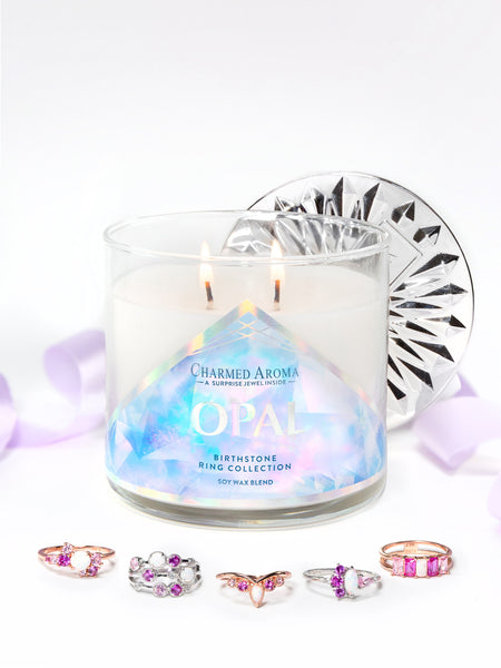 Opal Birthstone Candle - Opal Ring Collection