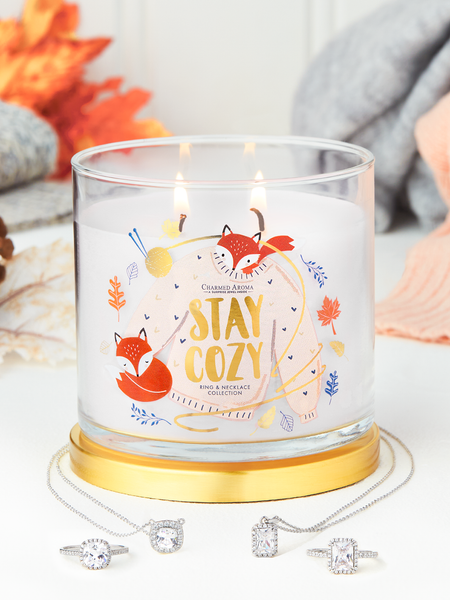 Stay Cozy Candle - Matching Ring & Necklace Collection