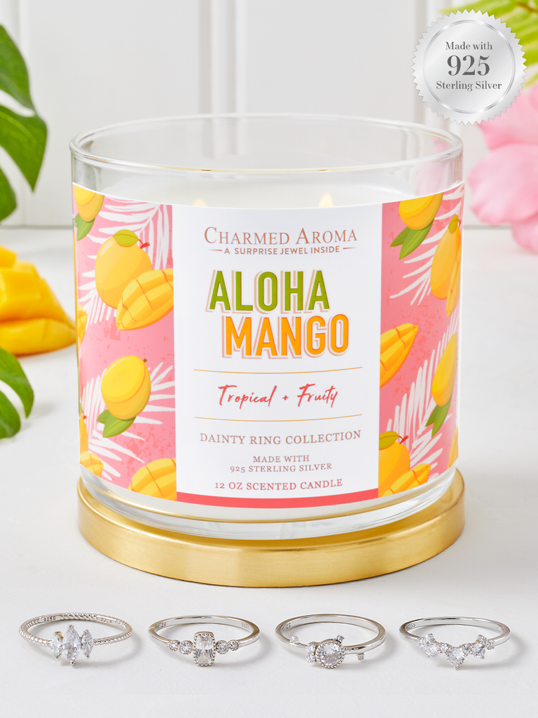 Aloha Mango Candle - 925 Sterling Silver Dainty Ring Collection