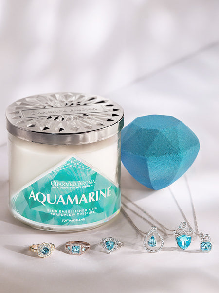 Aquamarine Birthstone Set - Ring & Necklace Collection made with crystals from Swarovski