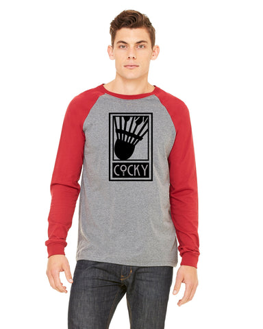 Cocky Baseball Shirt - Heather Gray/Cardinal