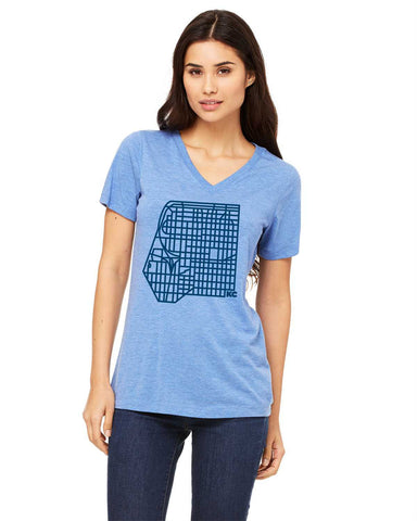 KC Map - Women's Relaxed fit Tri-Blend V-Neck