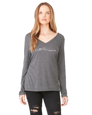 Skyline - Women's Long Sleeve V-Neck