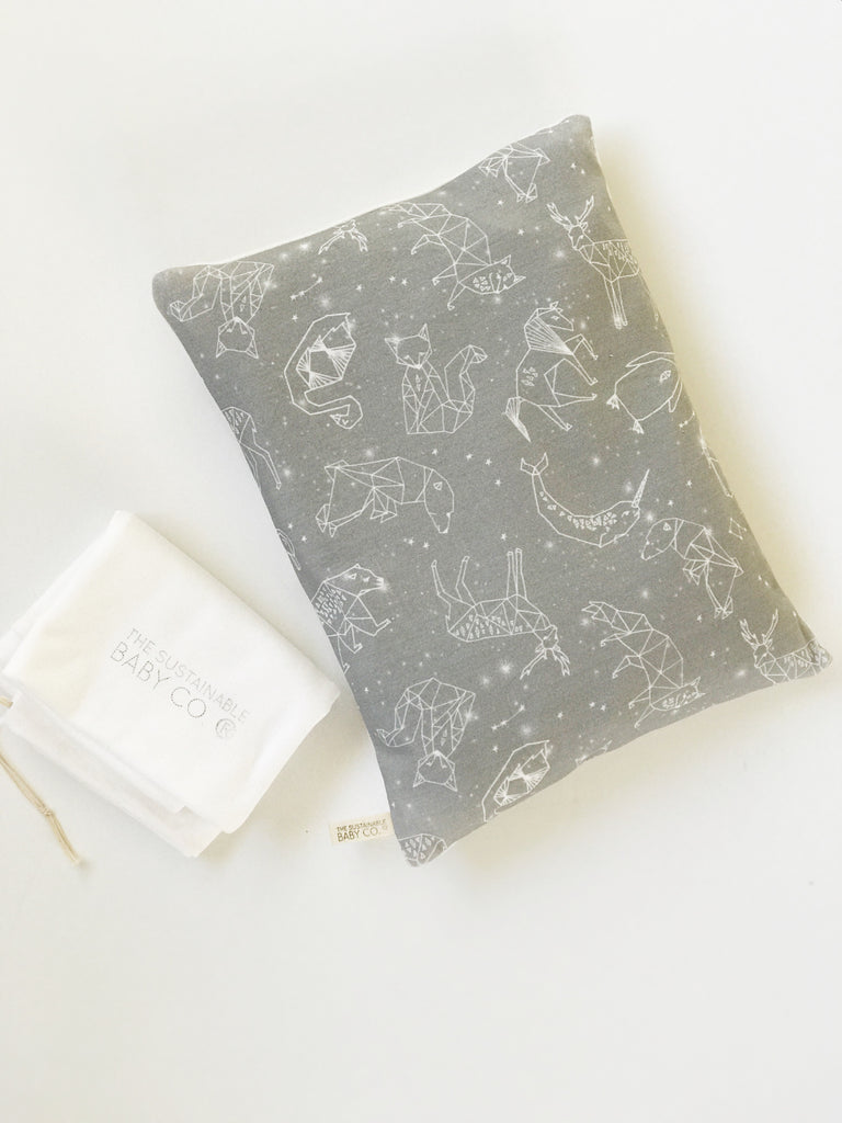 Sustainable Zen Pillow - Origami Constellations Grey