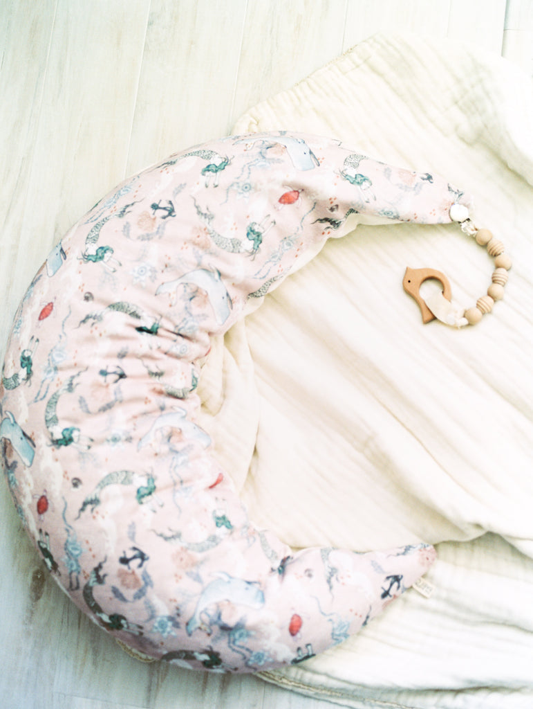 MoonWomb™ Pillow + Organic Cotton cover in Oceana Mermaid
