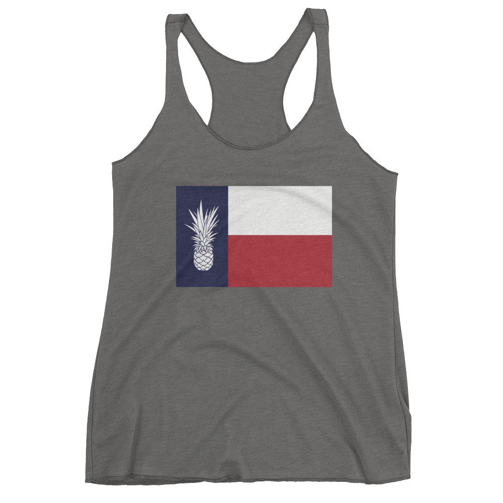 Texas Piña Flag on Heather Grey Next Level Triblend Racerback Tank
