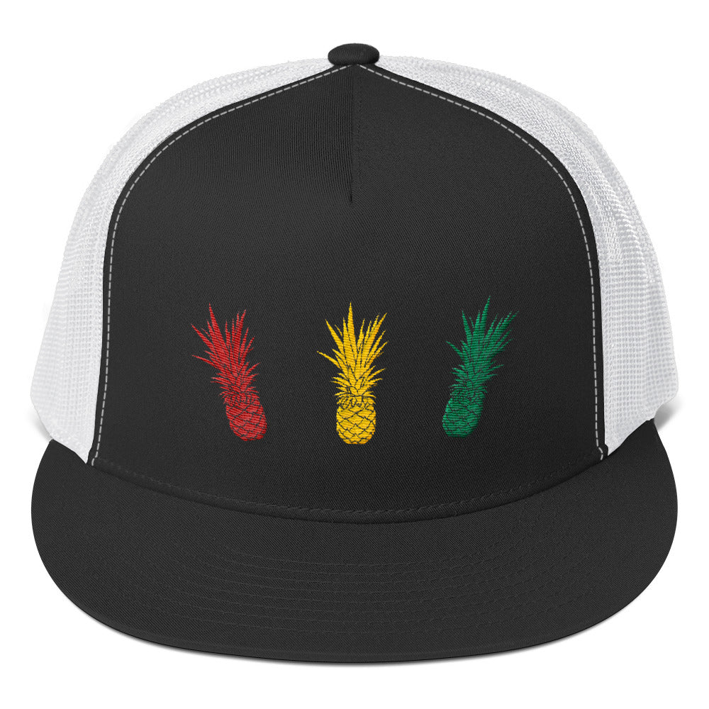 Embroidered Rasta Pineapple Yupoong Trucker Cap