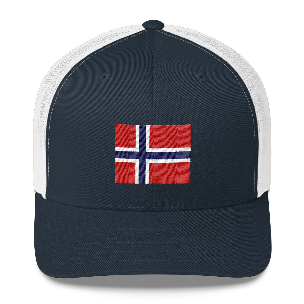 Embroidered Norwegian Flag Trucker Cap White/Navy/Navy & White