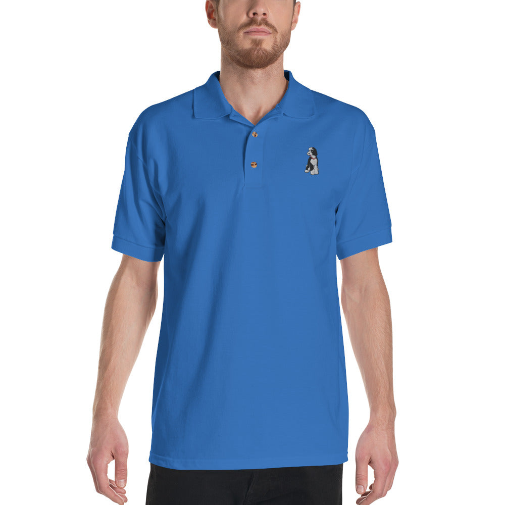 Doodlesson Embroidered Polo Shirt! BLUE/GREY/WHITE