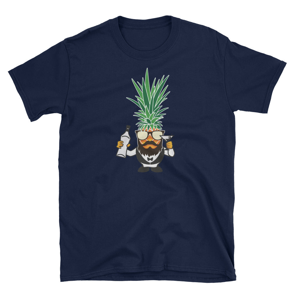 Bearded Pine Bartender on Navy Gildan Softstyle Tee