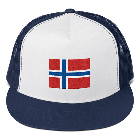 Norwegian Flag Yupoong Trucker Cap Charcoal/Navy/Royal