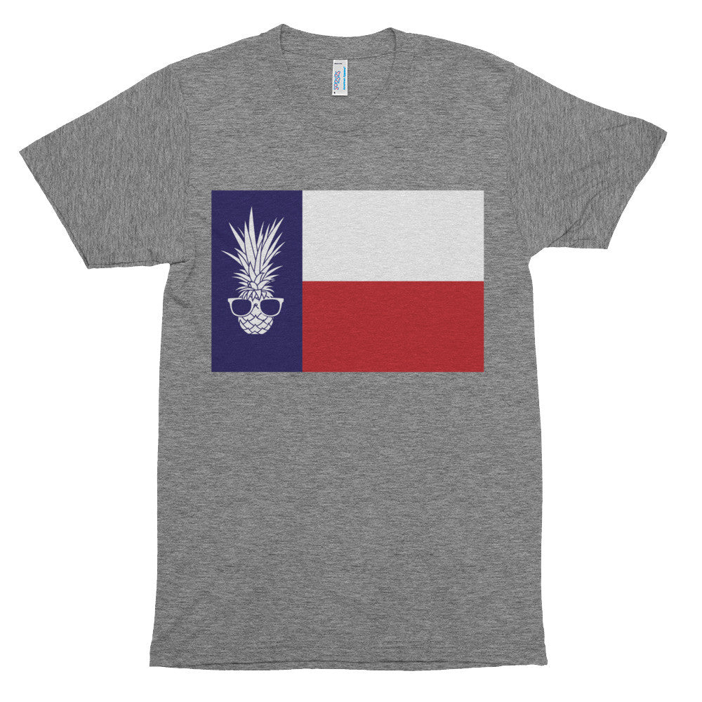 TEXAS PIÑA FLAG W/SHADES ON AMERICAN APPAREL UNISEX TRI-BLEND SHORT SLEEVE TRACK SHIRT