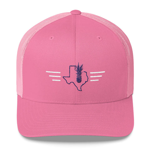 Embroidered Pink Yupoong 5 Panel Trucker Cap