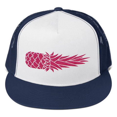 Hot Pink Pineapple Cannon on Yupoong 6006 Five Panel Truck Hat (MORE COLORS)