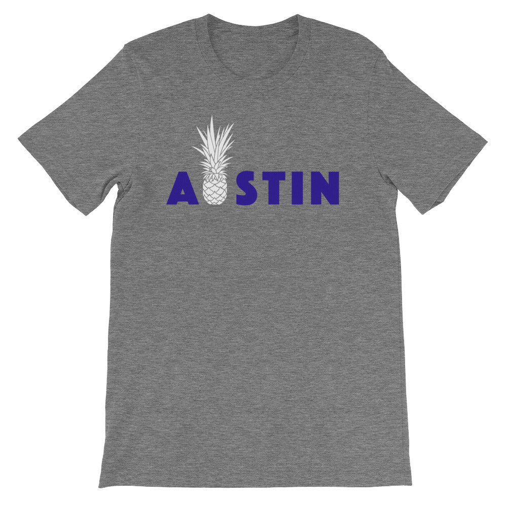 Pineapple Austin with Outside Label on Dual Blend Heather Bella + Canvas (MORE COLORS)