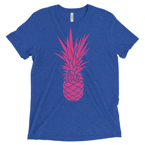 Giant Pink Pineapple on Bella + Canvas 3413 Triblend Short Sleeve T-Shirt with Tear Away Label