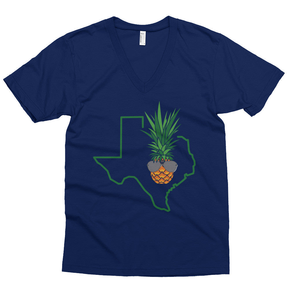 Dark Shades Texas Piña on American Apparel 2456 Fine Jersey Short Sleeve V-Neck