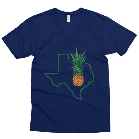Austin Pineapple American Apparel 2456 Fine Jersey Short Sleeve V-Neck Navy