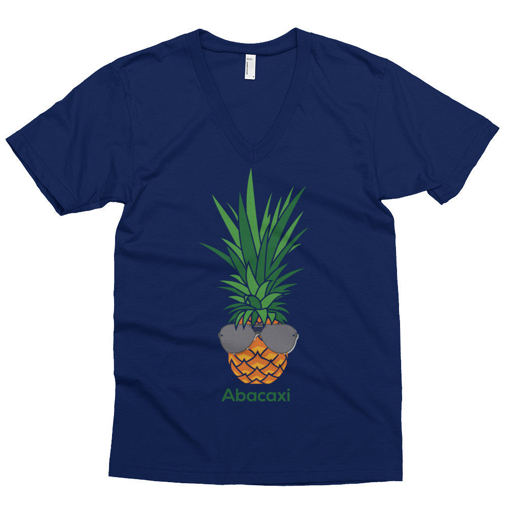 V-Neck - Abacaxi - It Means Pineapple in Portuguese - on American Apparel Fine Jersey Short Sleeve V-Neck