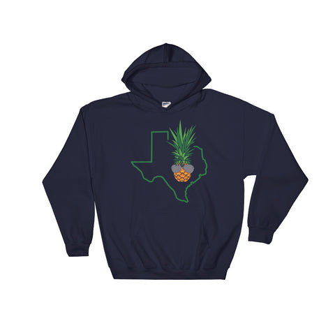 Shaded Texas Pineapple on Navy Gildan Heavy Blend™ Hooded Sweatshirt