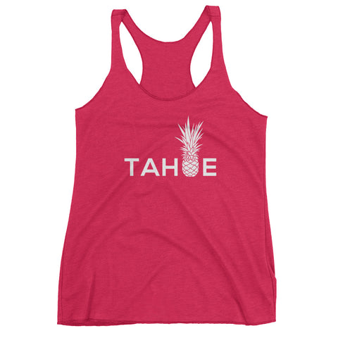Piña TAHOE on Shocking Pink Next Level Triblend Racerback Tank