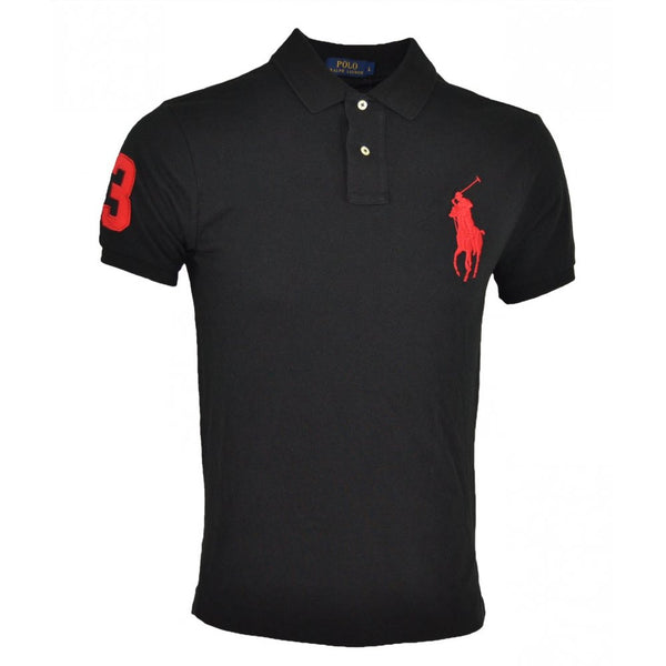 Ralph Lauren Big Pony Short Sleeved Mens Polo Shirt In Black/Red