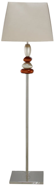 Terracotta Pebble Floor Lamp With Two Tone Champagne Shade