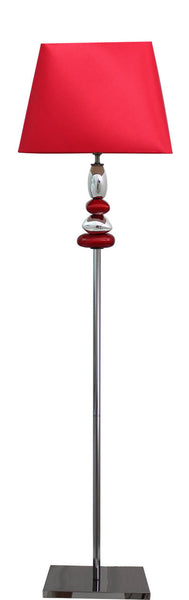 Red And Chrome Pebble Floor Lamp With 17 Inch Red Shade