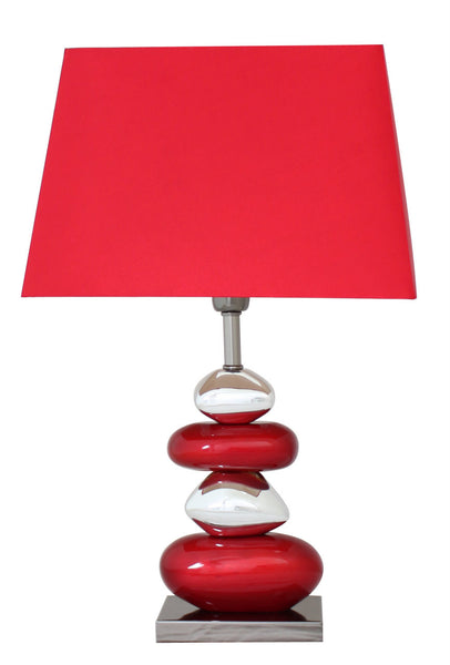 Red And Chrome Pebble Table Lamp With 13 Inch Red Shade