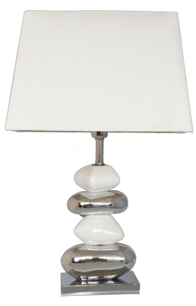 White And Chrome Pebble Table Lamp With 13 Inch White Shade