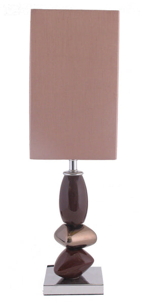 Chocolate Pebble Small Table Lamp With Mocha Shade
