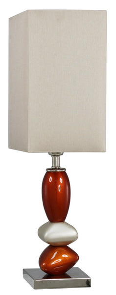 Terracotta Pebble Small Table Lamp With Champagne Shade