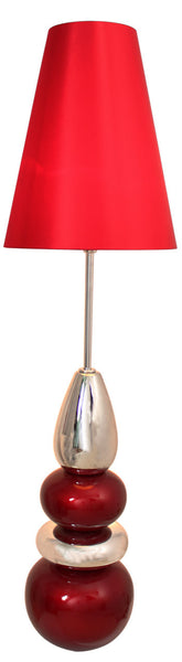 Red & Chrome Pebble Statement Lamp