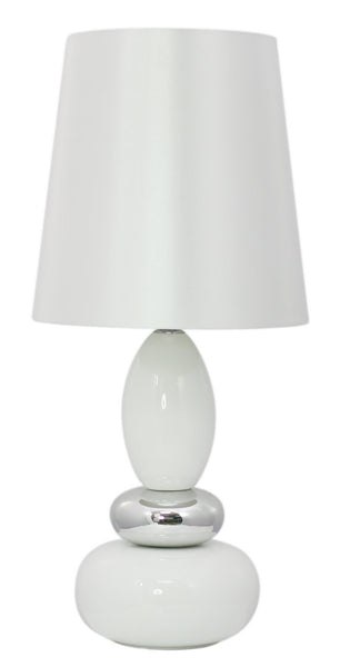 White Round Pebble Statement Lamp With White Shade