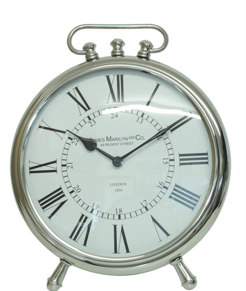 Nickel Round Table Clock On Nickel Legs