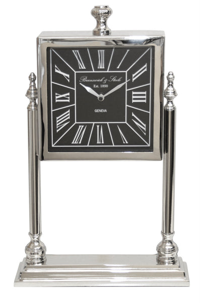 Nickel And Black Square Table Clock On Stand