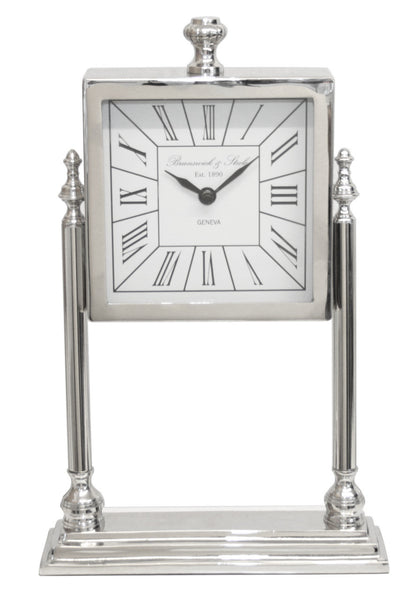 Nickel And White Square Table Clock On Stand
