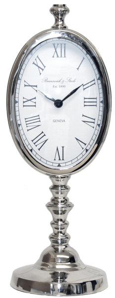 Nickel Oval Table Clock On Stand
