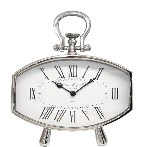 Nickel Oval Table Clock