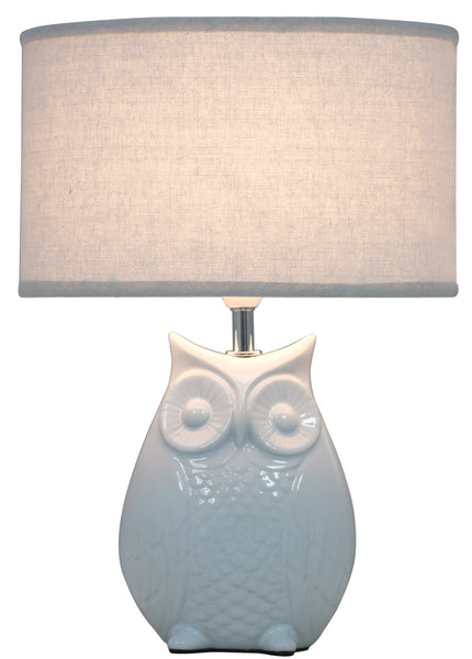 Ivory Oval Owl Table Lamp With 10 Inch Silver Cobweb Shade