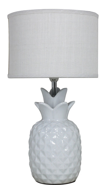 Ivory Pineapple Table Lamp With White Linen Shade