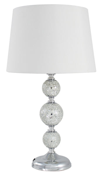 Silver Sparkle Mosaic 3 Ball Table Lamp With White Shade