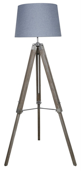 Natural Grey Hollywood Floor Lamp With Blue Shade
